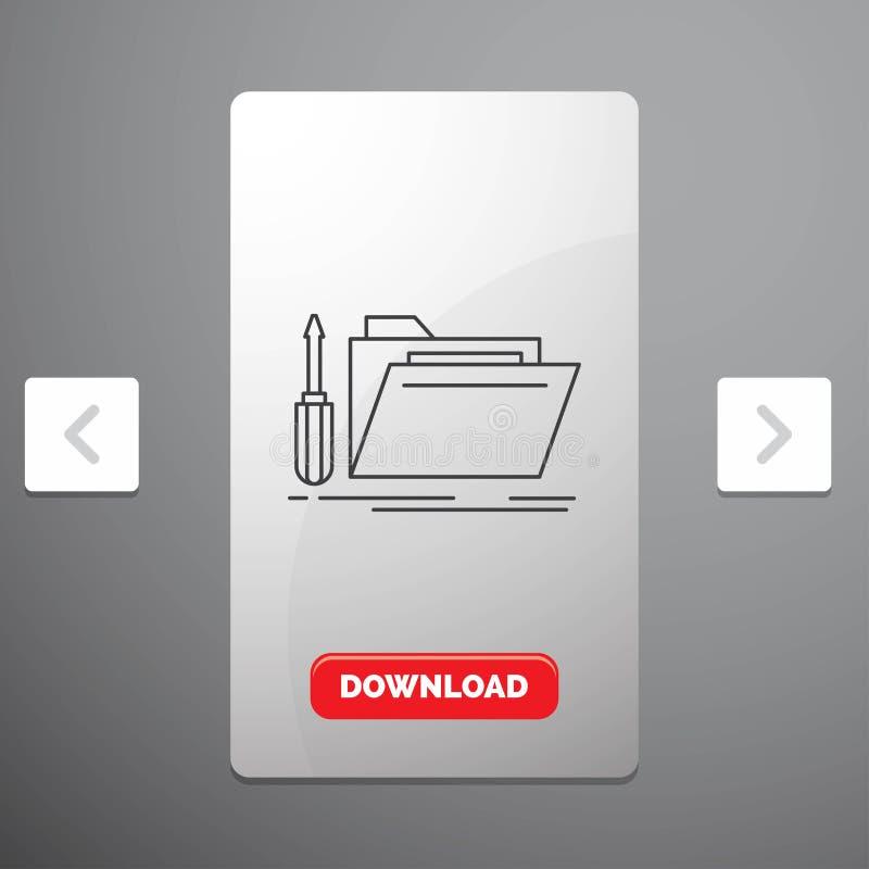 falcówka, narzędzie, naprawa, zasoby, usługowej linii ikona w biby paginacji suwaka projekcie & Czerwony ściąganie guzik, royalty ilustracja