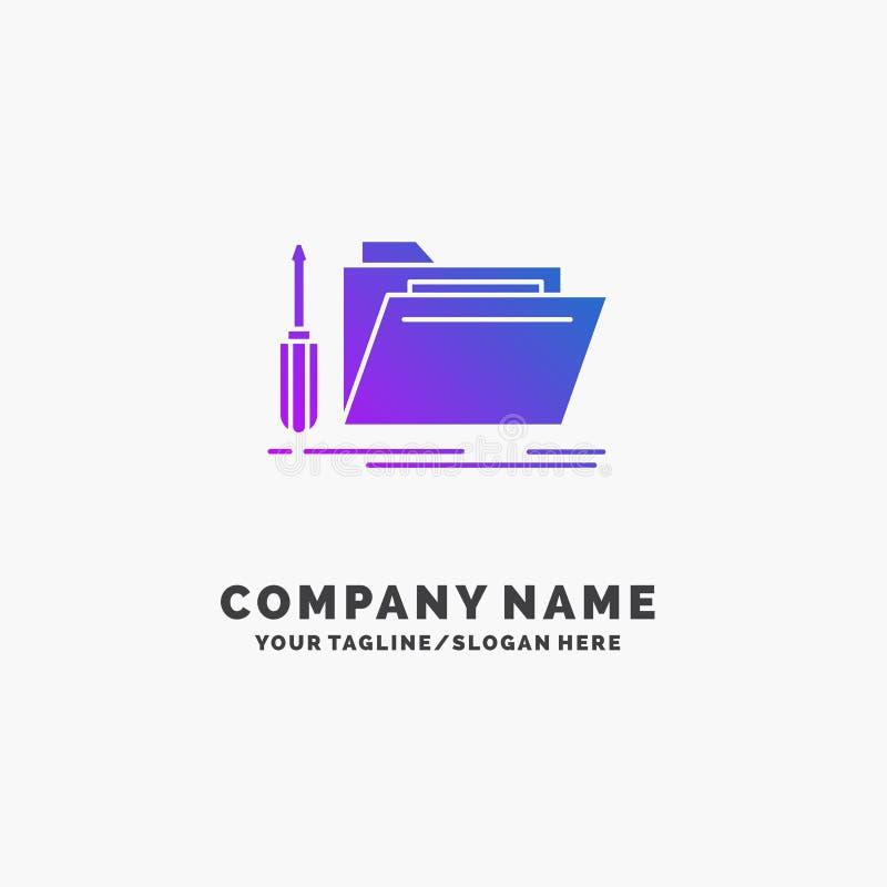 falcówka, narzędzie, naprawa, zasoby, usługowy Purpurowy Biznesowy logo szablon Miejsce dla Tagline royalty ilustracja