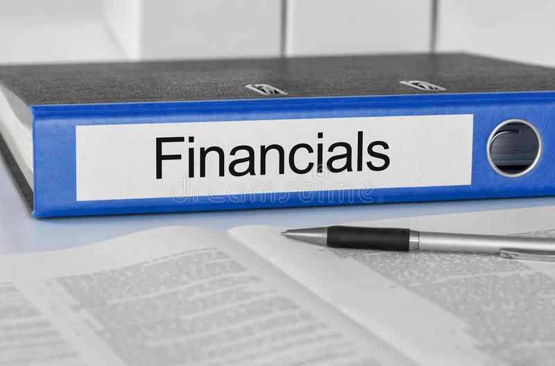 Falcówka z etykietek Financials obraz stock