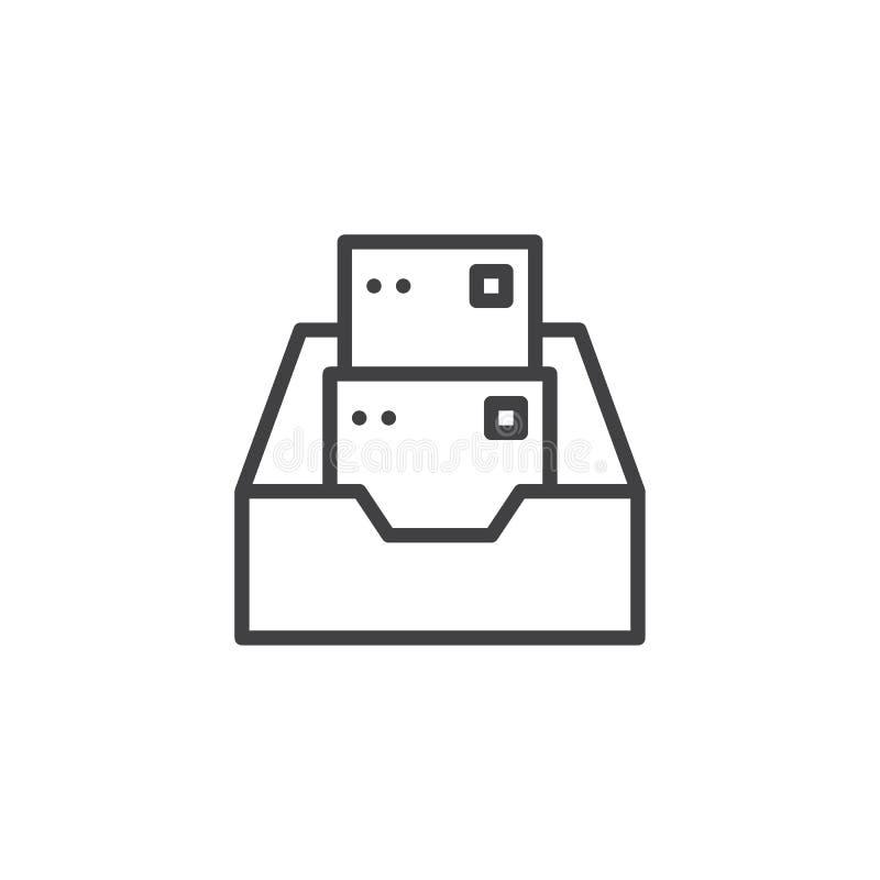 Falcówka z kartoteki kreskową ikoną ilustracja wektor