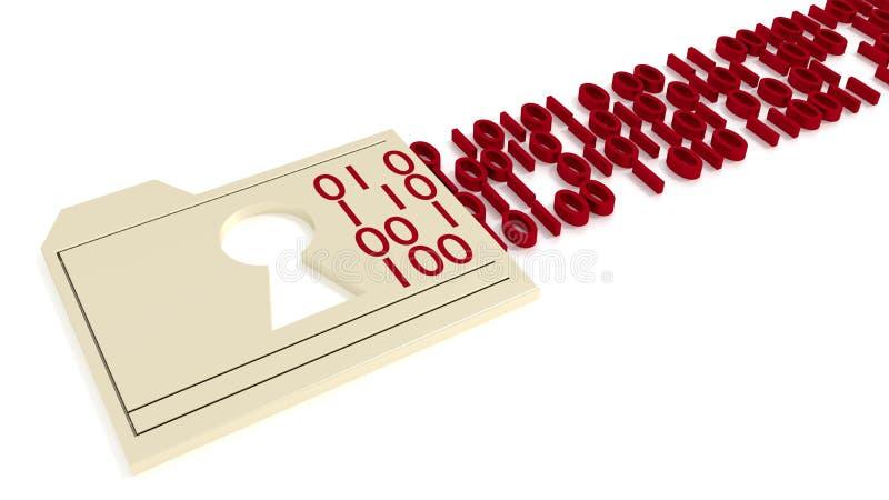 Falcówka z keyhole przepuszcza binarnych strumieni dane narusza pojęcie ilustracja wektor