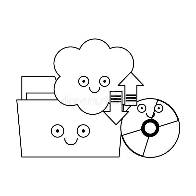 Falc?wki i cd rom z chmur? oblicza w czarny i bia?y ilustracja wektor