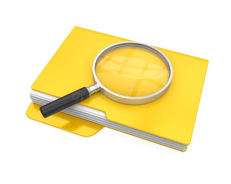 Falcówki i Powiększać - szkło Odizolowywający Kartoteki rewizi pojęcie ilustracja wektor