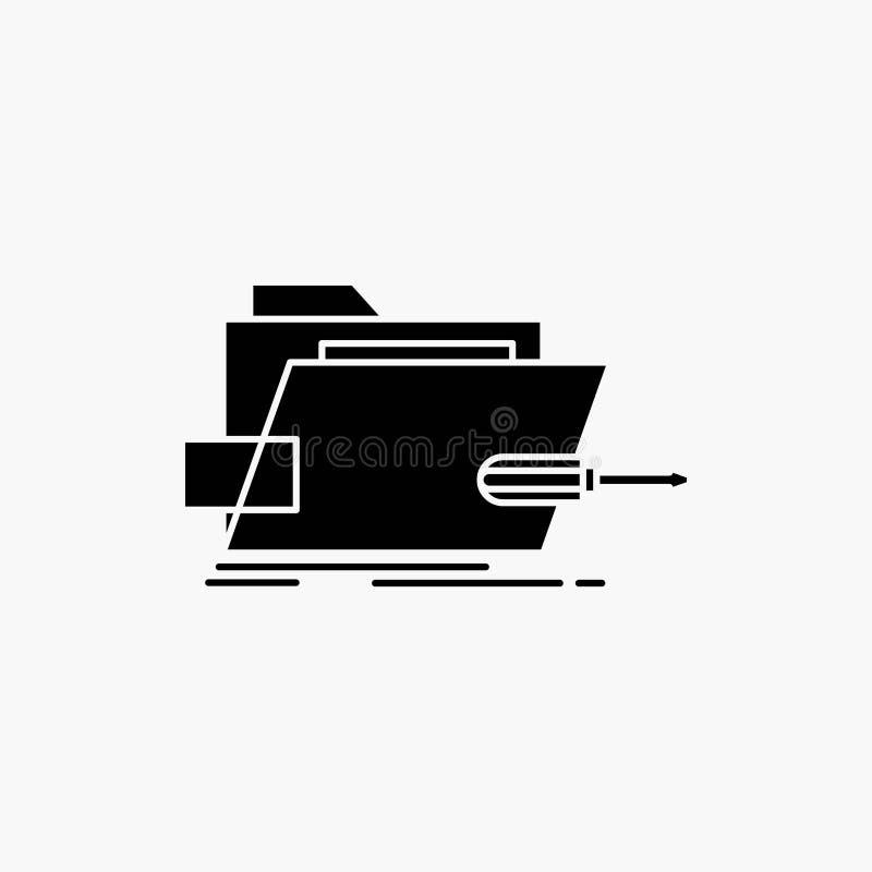 Falc?wka, naprawa, skrewdriver, technika, techniczna glif ikona Wektor odosobniona ilustracja ilustracji