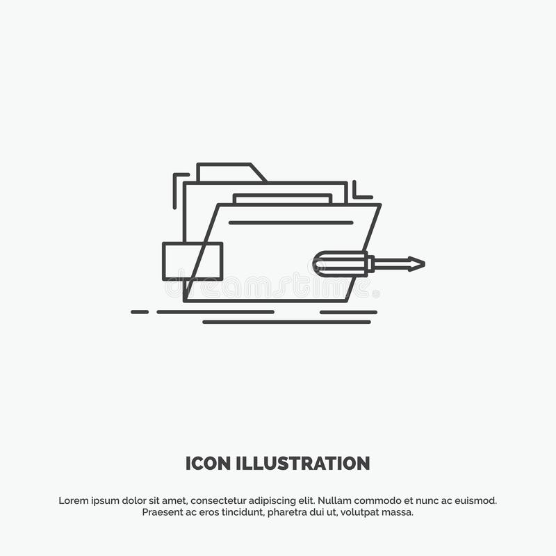 Falc?wka, naprawa, skrewdriver, technika, techniczna ikona Kreskowy wektorowy szary symbol dla UI, UX, strona internetowa i wisz? royalty ilustracja