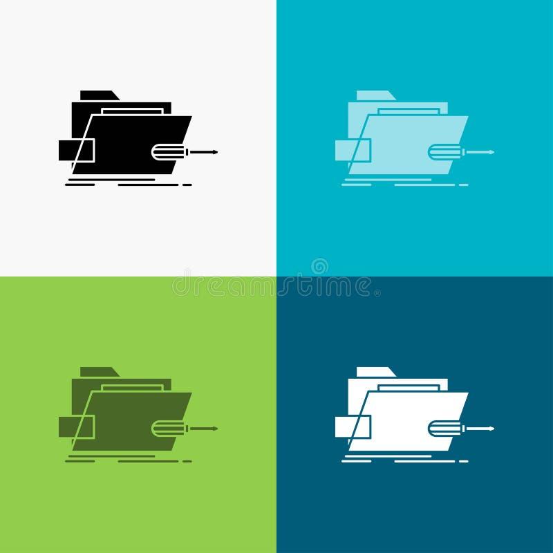 Falc?wka, naprawa, skrewdriver, technika, techniczna ikona Nad R??norodnym t?em glifu stylu projekt, projektuj?cy dla sieci i app ilustracja wektor