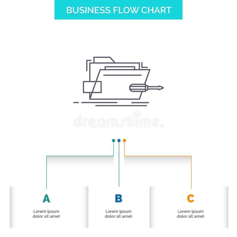 Falc?wka, naprawa, skrewdriver, technika, techniczny Biznesowy Sp?ywowej mapy projekt z 3 krokami Kreskowa ikona Dla prezentacji  ilustracji