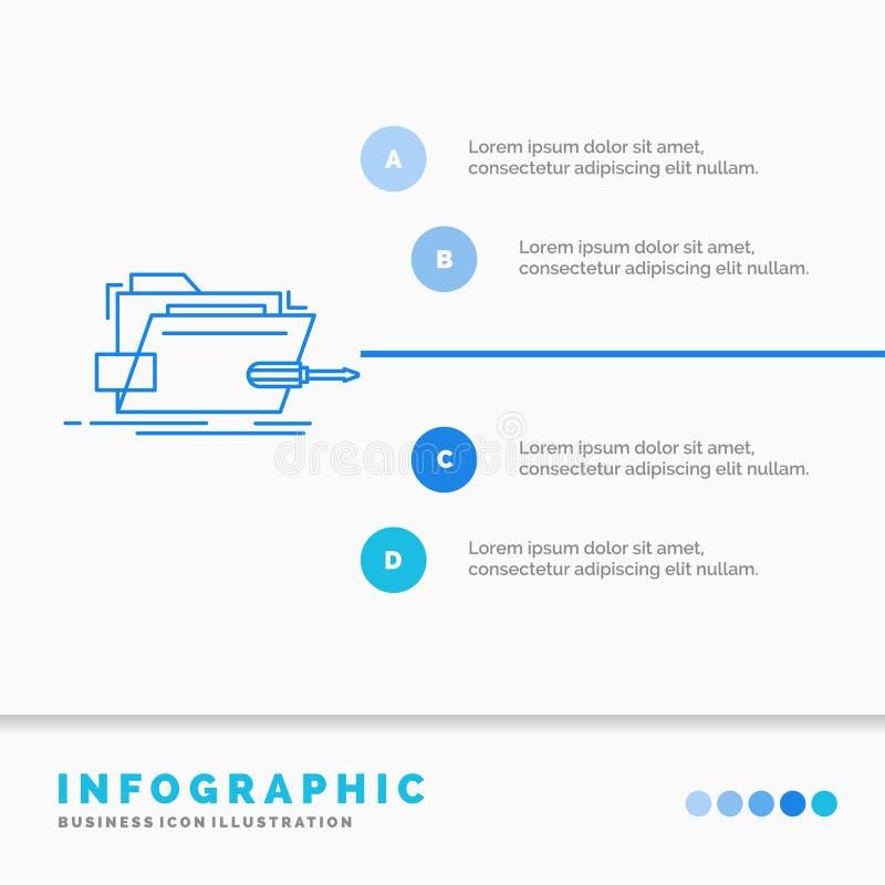 Falc?wka, naprawa, skrewdriver, technika, techniczny Infographics szablon dla strony internetowej i prezentacja, Kreskowej B??kit ilustracji