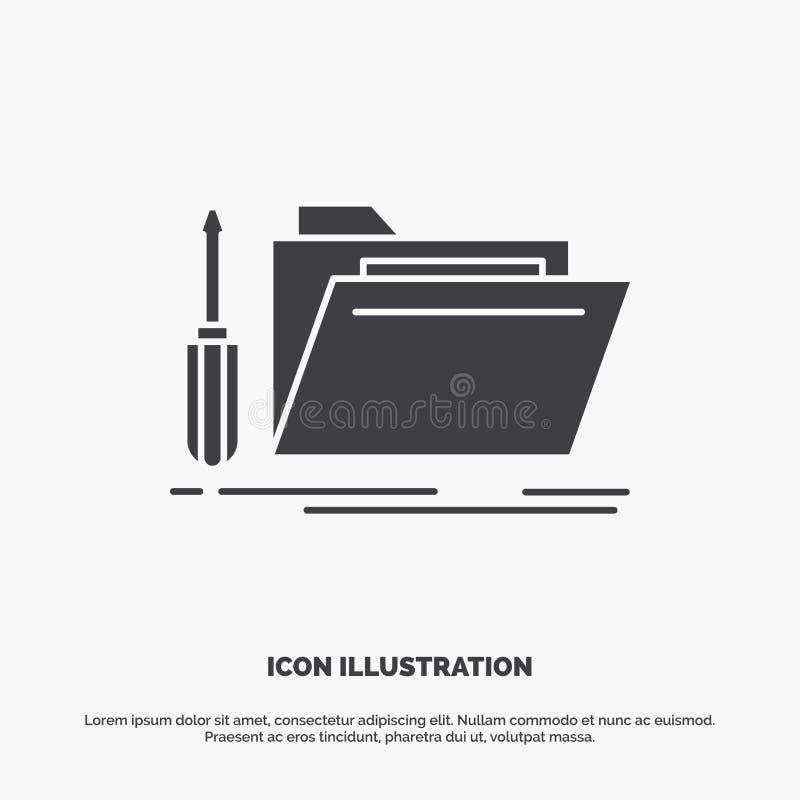 falc?wka, narz?dzie, naprawa, zasoby, us?ugowa ikona glifu wektorowy szary symbol dla UI, UX, strona internetowa i wisz?cej ozdob royalty ilustracja