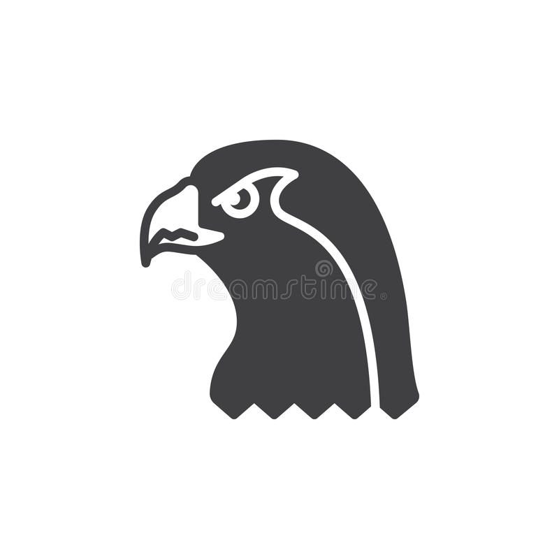 Falcon head icon vector, filled flat sign stock illustration