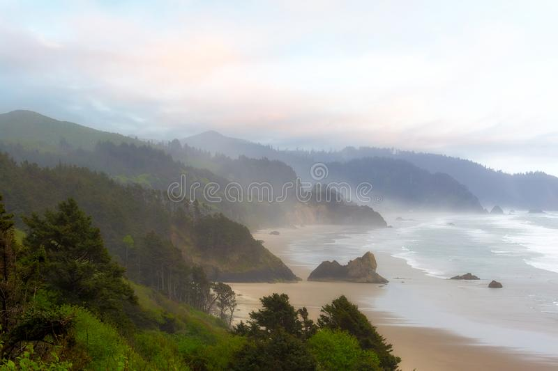 Falcon and Silver Point at Oregon Coast. Falcon Point and Silver Point at Cannon Beach along Oregon Coast Pacific Ocean royalty free stock photography