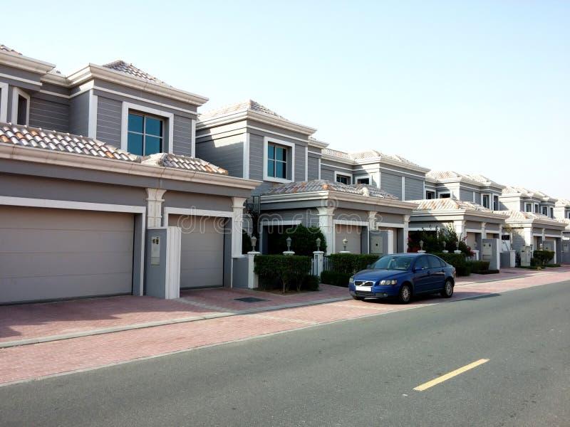Falconcity av undervillor i Dubailand Dubai UAE royaltyfri fotografi