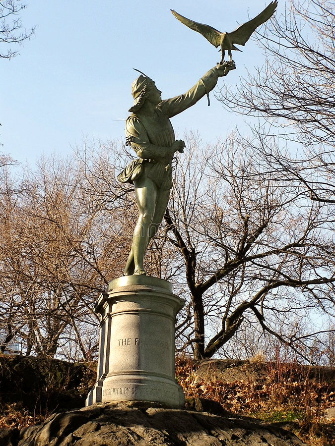 Download Falconer of Central Park stock photo. Image of human, wings - 71698