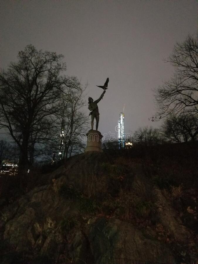 Falconer. Statue, central park royalty free stock photo