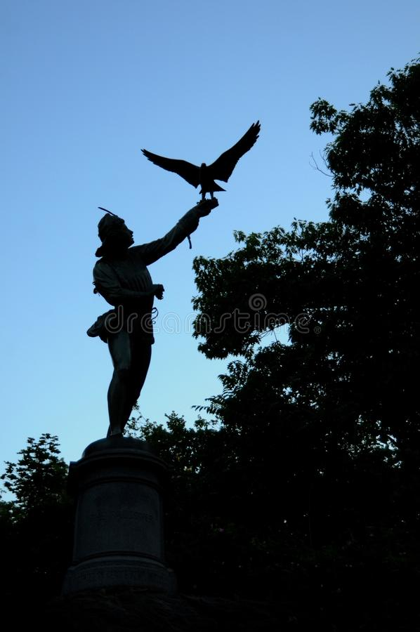 The Falconer statue in Central Park in New York City royalty free stock photos