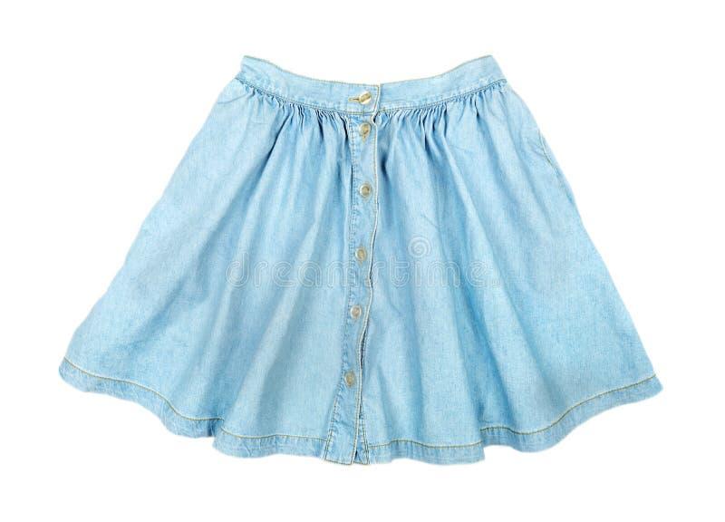 Falda azul corta de moda del dril de algodón fotos de archivo