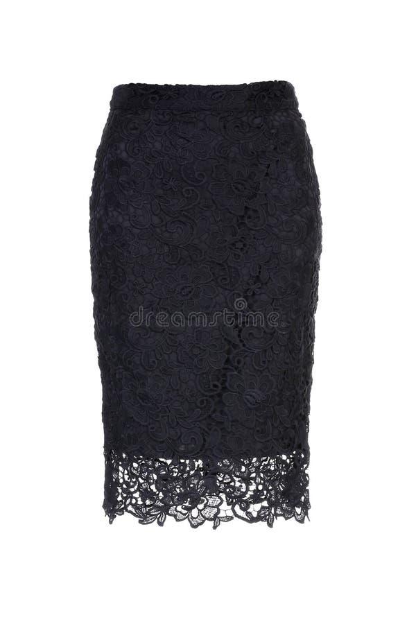 Falda de encaje negra elegante aislada sobre blanco imagenes de archivo