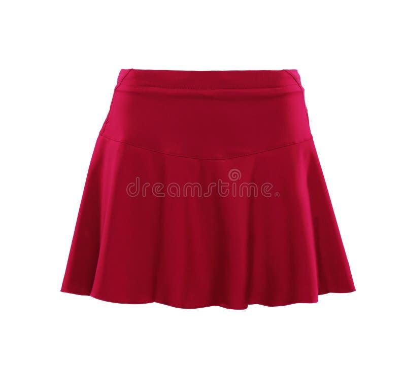 Falda del color rojo aislada en el fondo blanco fotografía de archivo