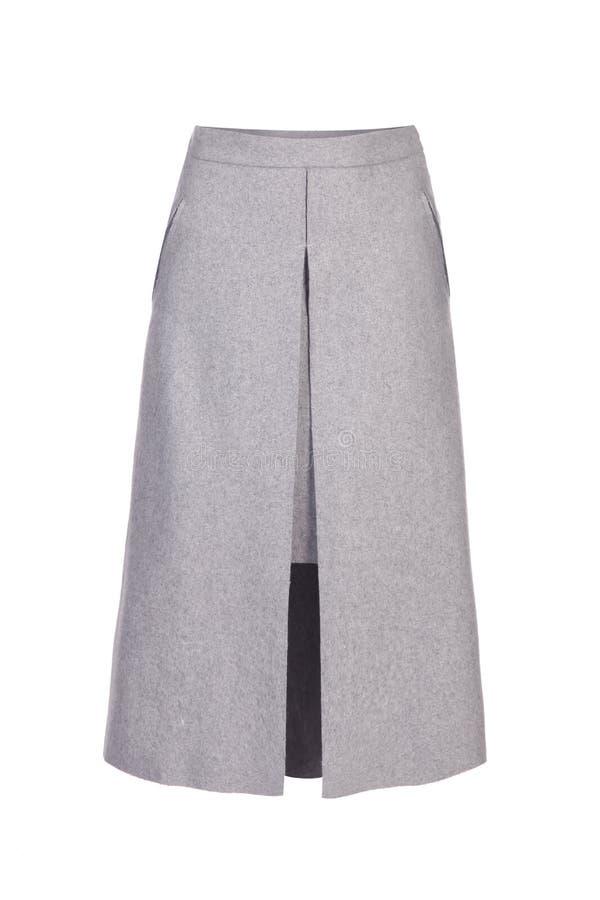 Falda gris de las lanas aislada sobre blanco fotos de archivo