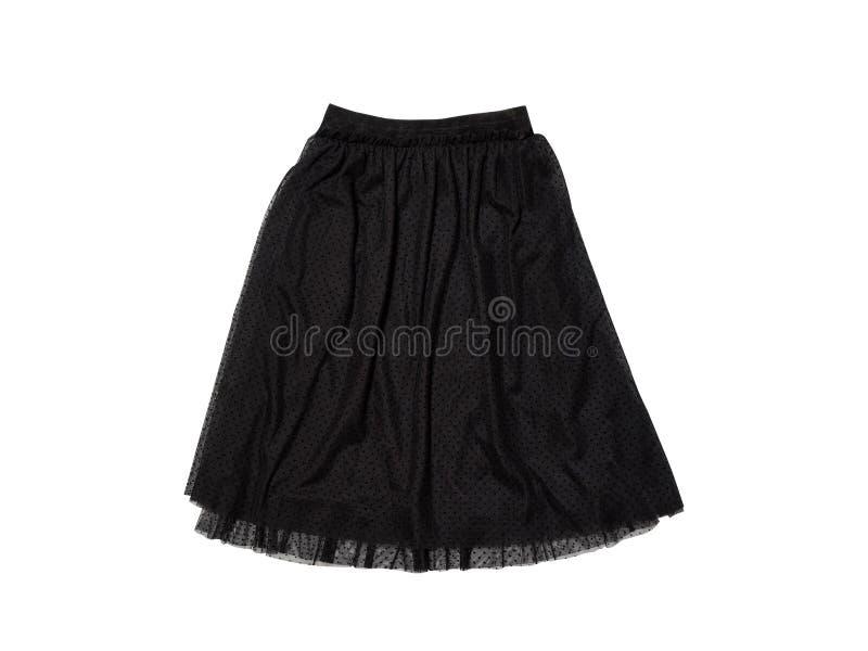 Falda negra de Tulle en el fondo blanco aislante imagen de archivo