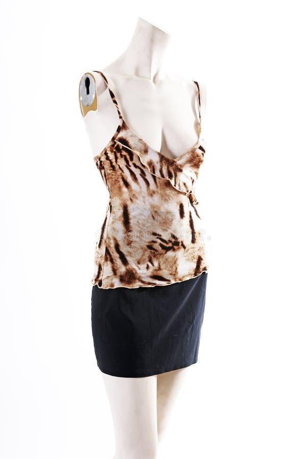 Falda negra superior del modelo animal en la exhibición completa del body shop del maniquí Estilos de la moda de la mujer, ropa e foto de archivo