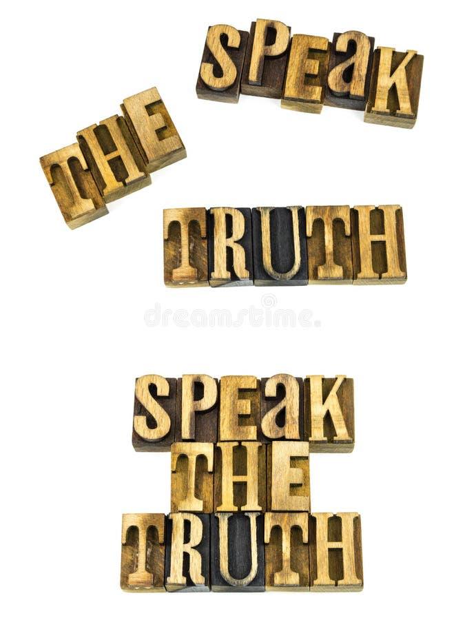 Fale as letras do conceito da verdade imagens de stock