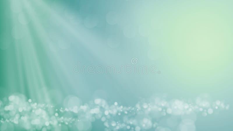Fale imaginacyjny ocean pod promieniami jaskrawy słońce lub morze ilustracja wektor
