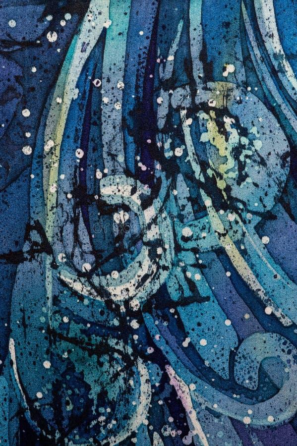 Fale, kędzierzawy, turkusowy, gorący batik, tło tekstura, handmade na jedwabiu ilustracja wektor
