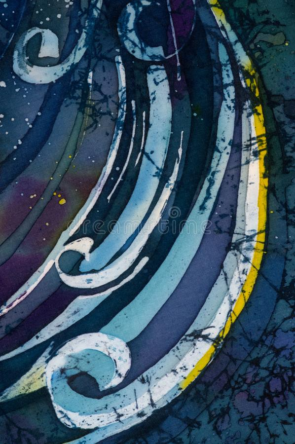 Fale, kędzierzawy, turkusowy, gorący batik, tło tekstura, handmade na jedwabiu ilustracji