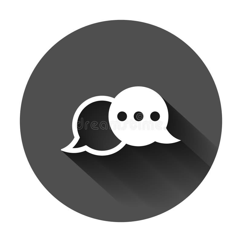 Fale o ?cone do sinal do bate-papo no estilo liso Ilustração do vetor das bolhas do discurso no fundo redondo preto com sombra lo ilustração do vetor