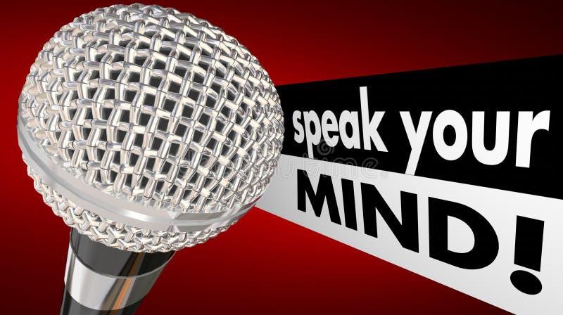 Fale suas palavras do microfone da mente ilustração do vetor