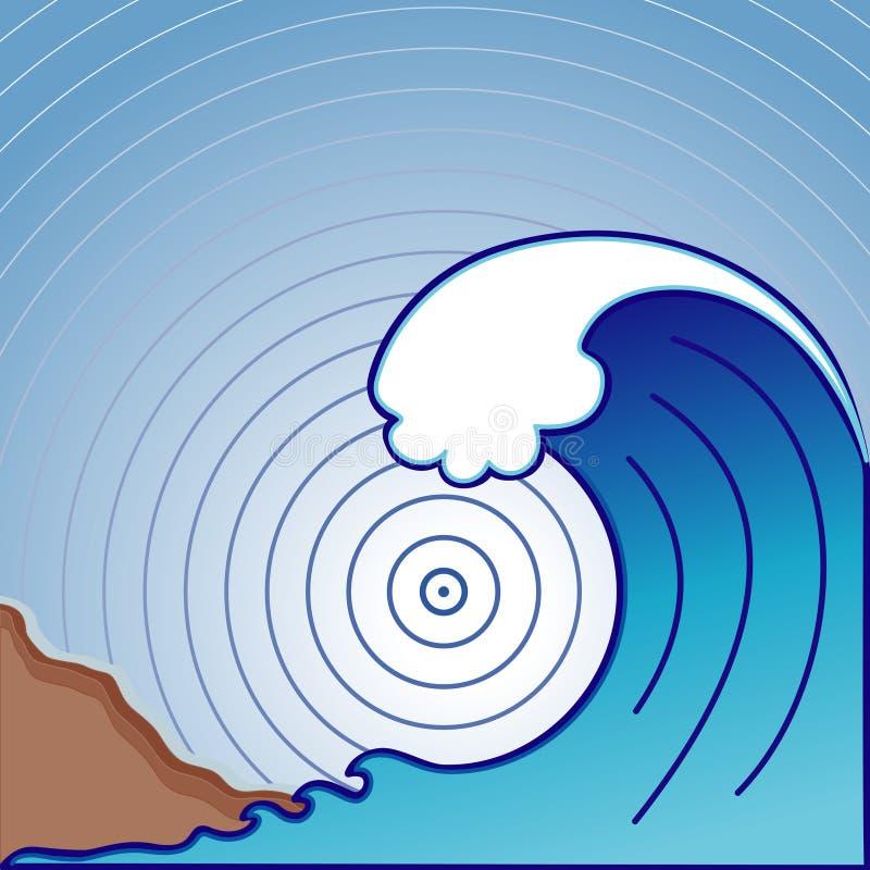 fale tsunami gigantyczna ilustracja wektor