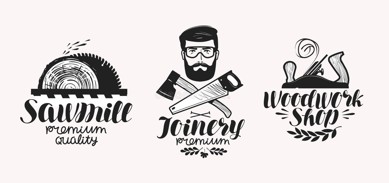 Falegnameria, insieme di etichetta della segheria Icona o logo del negozio della lavorazione del legno Iscrizione scritta a mano, illustrazione vettoriale
