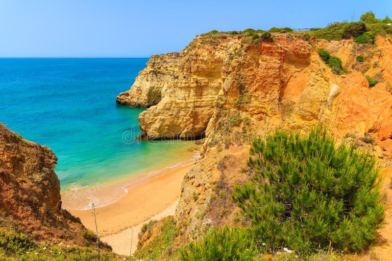 Falez skały na pięknej plaży obrazy stock