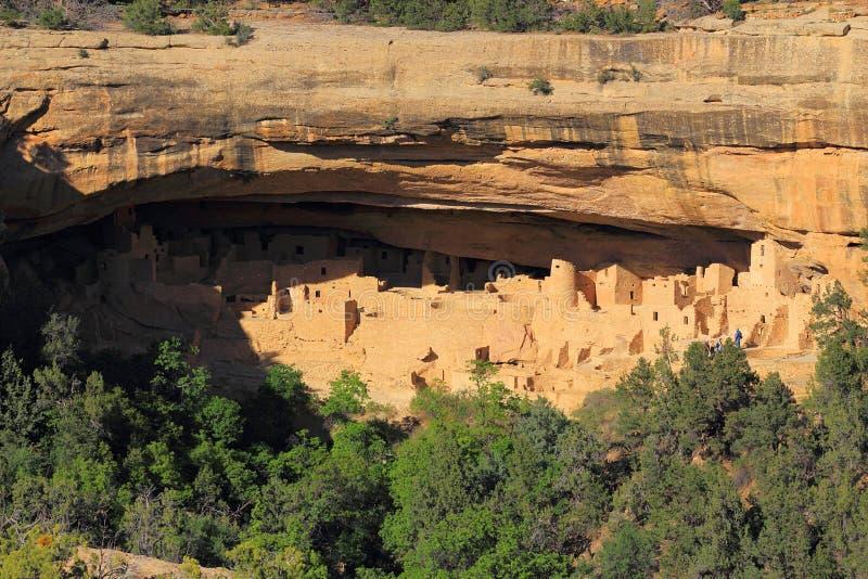 Faleza pałac w wieczór świetle, mesy Verde park narodowy, Kolorado fotografia royalty free