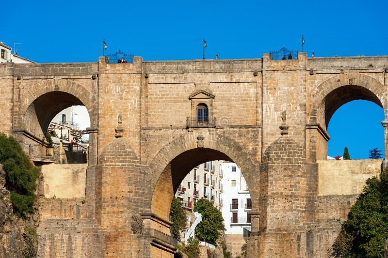 Falezy i Puente Nuevo most w Ronda, jeden sławne wioski w Andalusia, Hiszpania zdjęcia royalty free