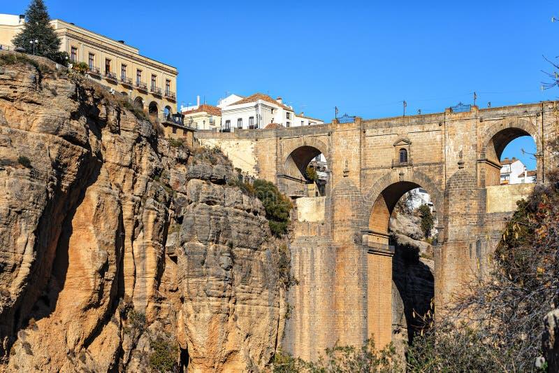 Falezy i Puente Nuevo most w Ronda, jeden sławne wioski w Andalusia, Hiszpania fotografia royalty free