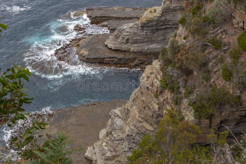 Falezy i wodny ruch przy Eaglehawk, Tasmania obraz royalty free