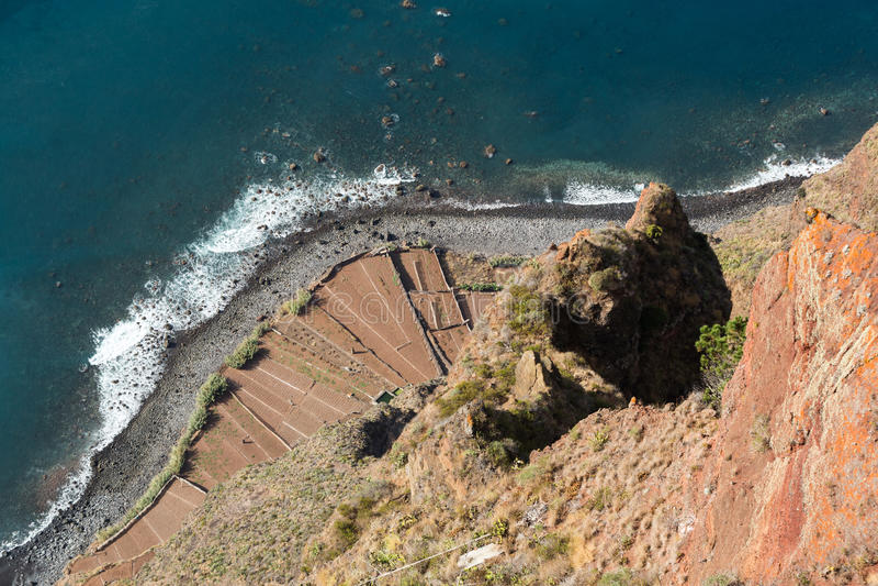 Falezy twarz Cabo Girao jak widzieć prostego puszek od punktu widzenia madeira zdjęcie stock