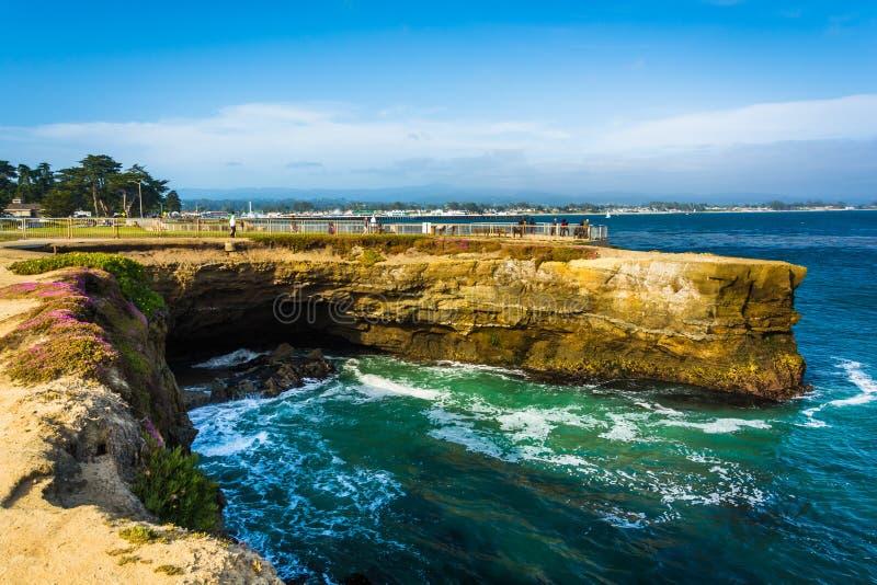 Falezy wzdłuż Pacyficznego oceanu w Santa Cruz, zdjęcia royalty free
