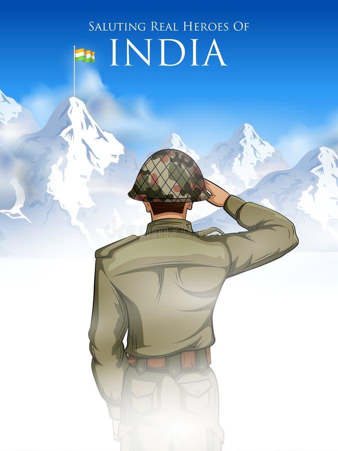 Falg de saudação do soilder indiano do exército da Índia com orgulho ilustração do vetor