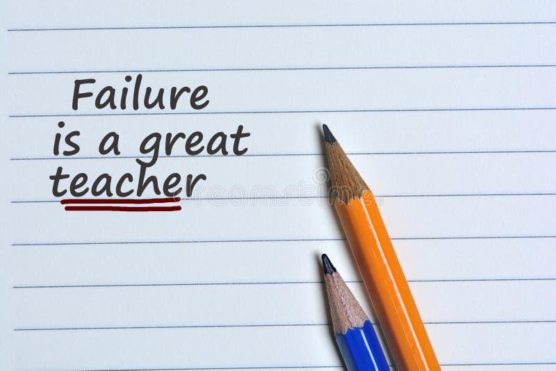 A falha é uma grande palavra do professor no papel fotos de stock