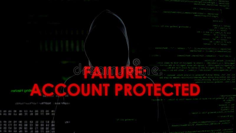 Falha, conta protegida, tentativa de corte mal sucedida de roubar dados pessoais fotos de stock