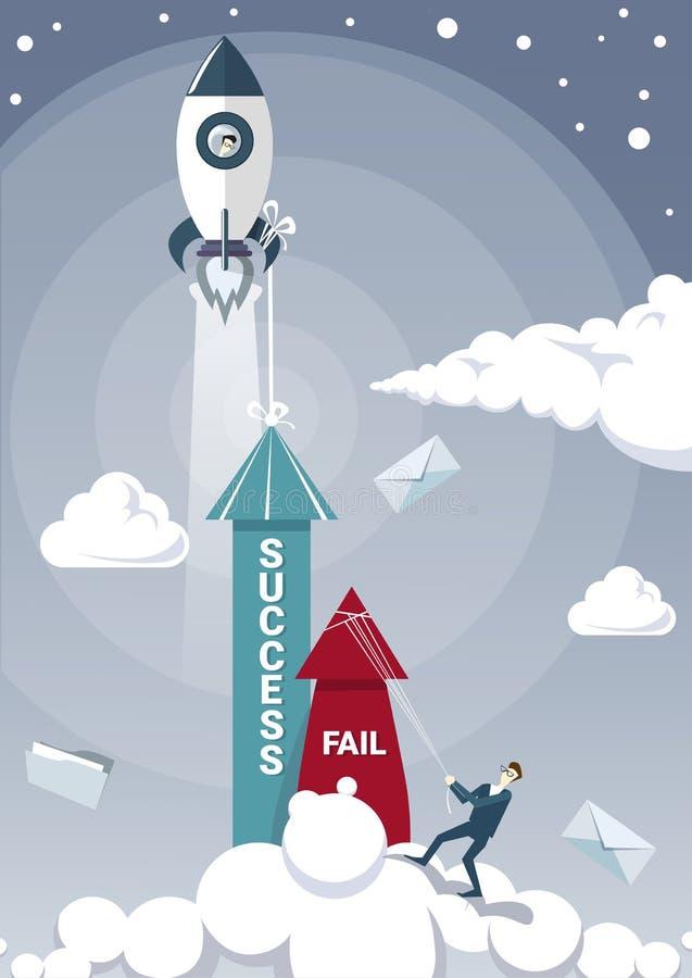 Falha da posse do homem de negócio com corda quando seta do sucesso que cresce acima com navio de espaço Rocket Flying Successful ilustração royalty free