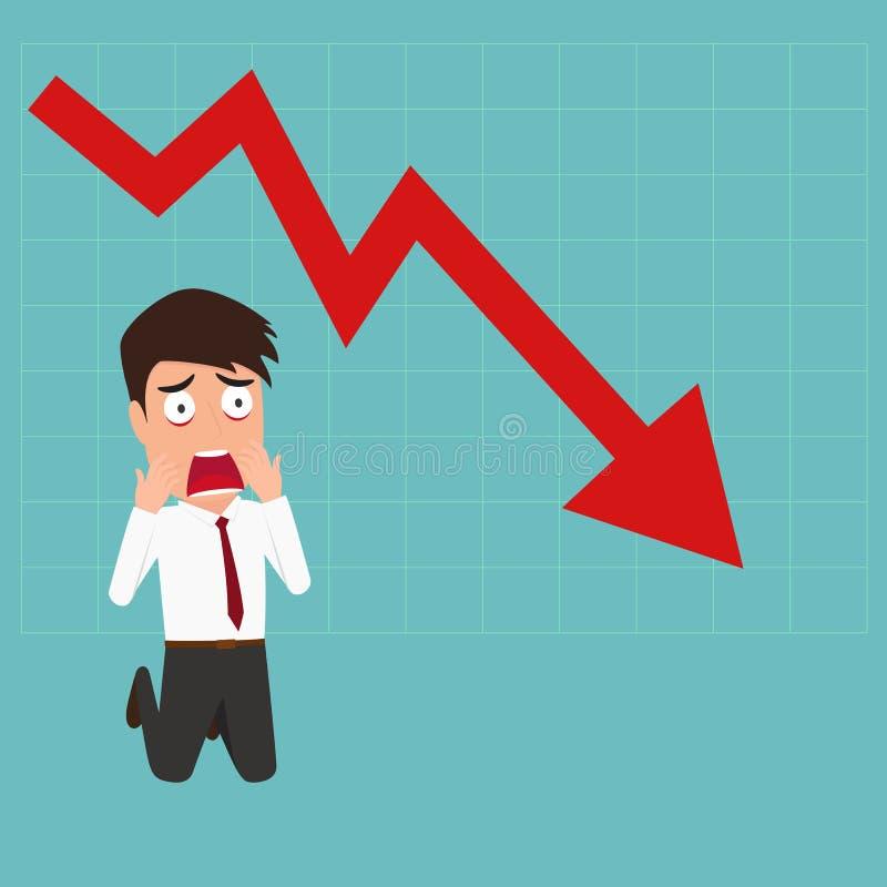 Falha de negócio Para baixo o gráfico da tendência faz um homem de negócios chocado ilustração stock
