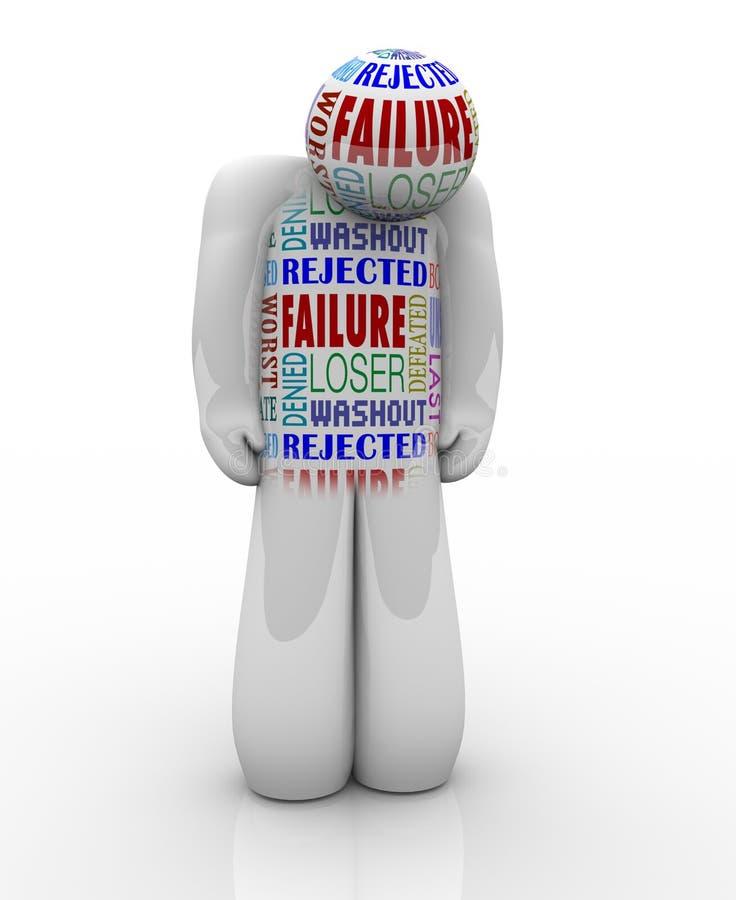 Falha - Person Loser Denied e mal sucedido tristes ilustração stock