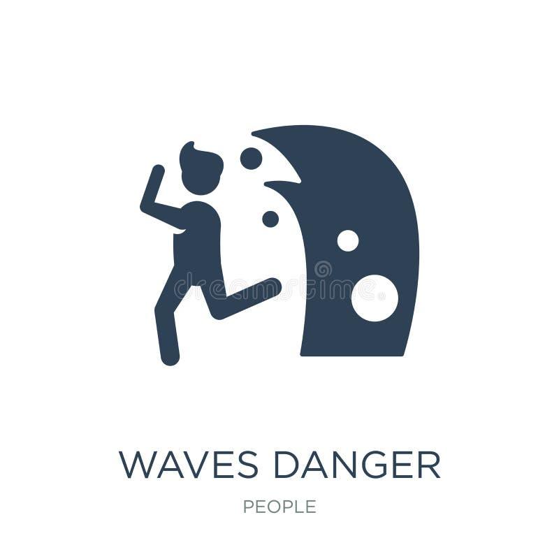 fali niebezpieczeństwa ikona w modnym projekta stylu macha niebezpieczeństwo ikonę odizolowywającą na białym tle fali niebezpiecz ilustracja wektor