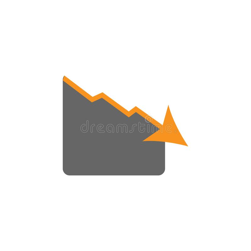 Falido e para baixo ícone Elemento de financeiro, de diagramas e de ícone dos relatórios para o conceito móvel e os apps da Web F ilustração do vetor