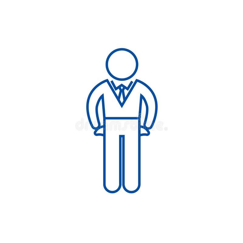 Falido, linha conceito do falhado do ícone Falido, símbolo liso do vetor do falhado, sinal, ilustração do esboço ilustração royalty free