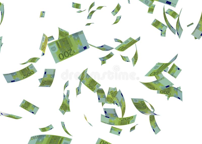 Faling Euro Banknote 3d Render On White stock photo
